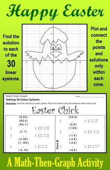 The Easter Chick: Solve 30 Systems & Coordinate Graphing Activity