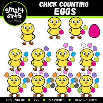 Easter Chick Counting Eggs Clip Art