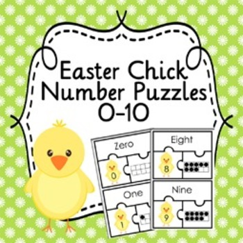 Free! Easter Chick Number Puzzles 0-10    ( Number name, Number, Ten Frame )