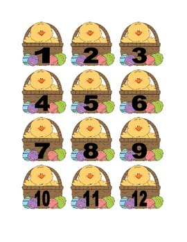 Easter Chick in Basket With Egg Numbers for Calendar or Counting Activity