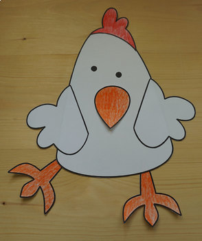 Animals Craft Chicken - Template Cut and Paste