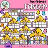 Easter Chicken Ten Frames Clip Art. Pascua.
