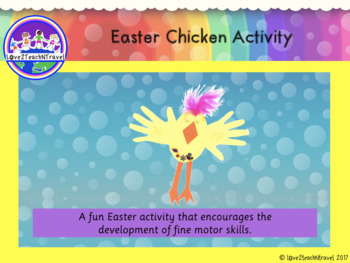 Easter Chicken activity that encourages the development of fine motor skills