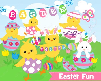 Easter Chickens Clipart, Commercial Use, Vector Graphics - UZ890