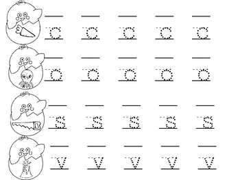 Easter Chicks Lowercase Letters Handwriting
