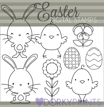 Easter Chicks and Bunnies Black Line Art