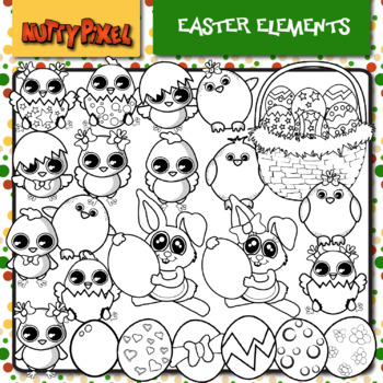 Easter Chicks and Bunny Elements - Clip Art