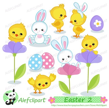 Easter Chiks and Bunny clipart  Digital clip art . Instant