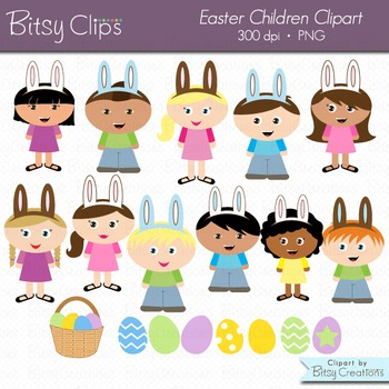 Easter Children Digital Art Set Clipart Commercial Use Clip Art Easter Clipart