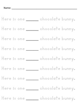 Easter Chocolate Bunny Pocket Chart Activity Common Core Aligned