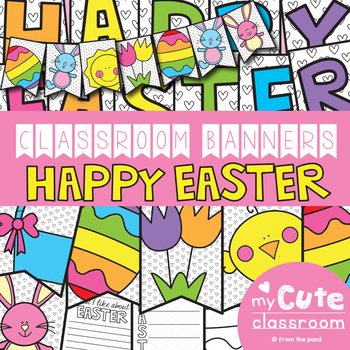 image relating to Happy Easter Banner Printable known as Easter Clroom Banner Mounted
