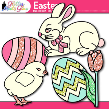 Easter Clip Art {Cute Bunny, Glitter Eggs, and Flowers for Spring Activities}