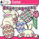 Easter Clip Art | Cute Bunny, Glitter Eggs, and Flowers for Spring Activities