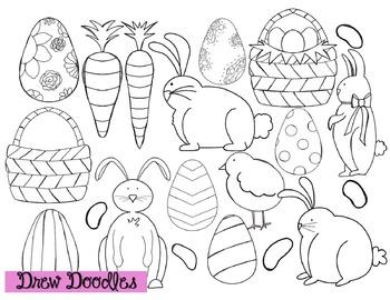 Easter Clip Art- Black Line Version