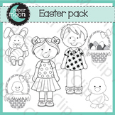 Easter Clip Art Black and White - Paper Moon Clip Art
