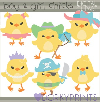Easter Clip Art - Boy and Girl Chicks