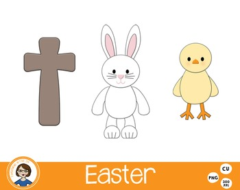 Easter Clip Art Bunny Chick and Cross