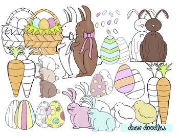 Easter Clip Art- Color and Black Line COMBO