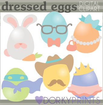 Easter Clip Art - Dressed Up Easter Eggs