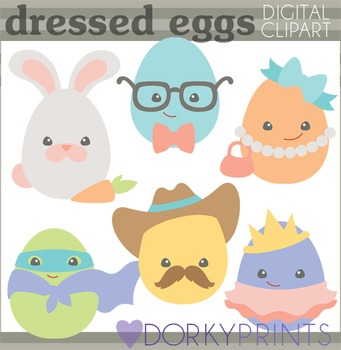 Easter Clip Art - Dressed Up Easter Eggs with Eyes