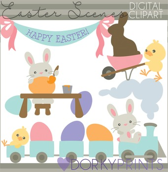 Easter Clip Art - Easter Bunny Scenes