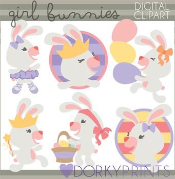 Easter Clip Art - Girl Bunnies