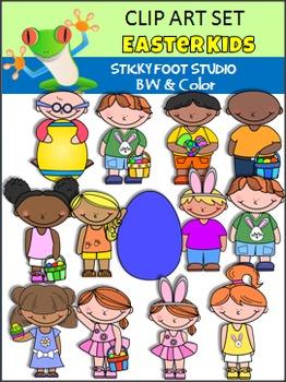 Easter Clip Art Kids (Sticky Foot Studio)