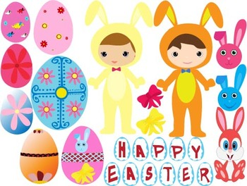Easter Clip Art - PNG,EPS-egs, rainbow, rabbit, bunny school -050-