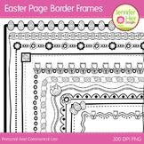 Easter Clip Art Page Border Frames: Black and White Digita