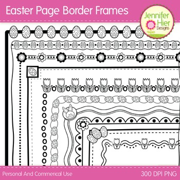 Easter Clip Art Page Border Frames: Black and White Digita