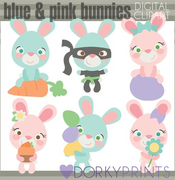 Easter Clip Art - Pink and Blue Bunnies