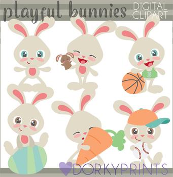 Easter Clip Art - Playful Boy Bunny Clipart