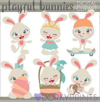 Easter Clip Art - Playful Girl Bunny Clipart