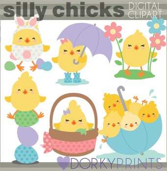 Easter Clip Art - Silly Chicks