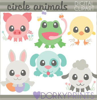 Easter Clip Art - Spring Circle Animals
