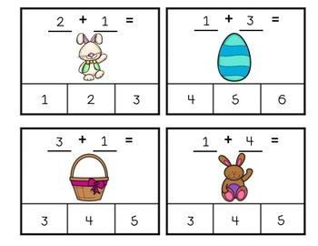 Easter Clip Cards Adding to Ten Free