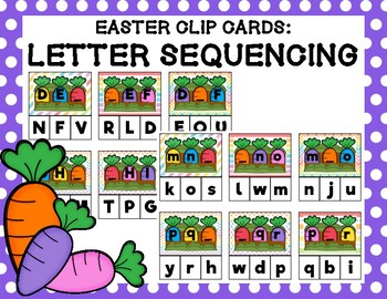 Easter Clip Cards: Letter Sequencing