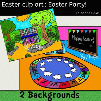 Easter Clip art - EASTER PARTY- Color and black/white!