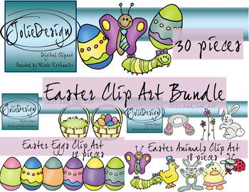 Easter Clipart Bundle - Color and Line Art 30 pc set
