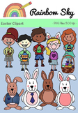 Easter Clipart - Bunnies and Kiddies