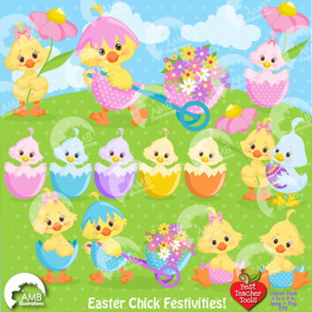 Easter Clipart, Easter Chicks Clipart, Bird Clipart AMB-1201