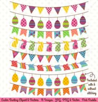 Easter Clipart, Easter Clip Art, Easter Bunting Clipart, Easter Bunting Clip Art