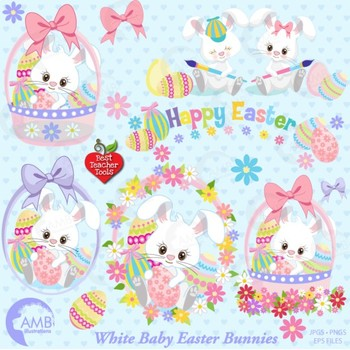 Easter Clipart Easter Bunnies and Eggs, {Best Teacher Tools}, AMB-1182
