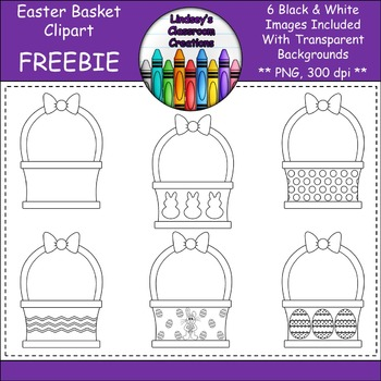 Easter Basket Clipart  - 6 Black and White Easter Baskets - 300 dpi, PNG