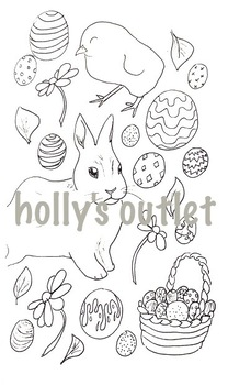 Easter Clipart // Seasons, Easter Holiday, Sunday, Clipart, Coloring Page, Print