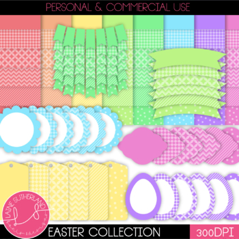 Easter Collection Digital Paper and Accent Set