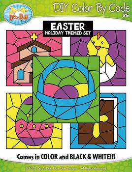 Easter Color By Code Clipart {Zip-A-Dee-Doo-Dah Designs}