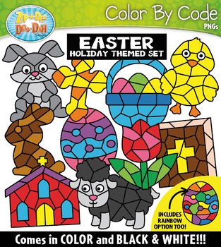 Easter Color By Code Shapes Clipart {Zip-A-Dee-Doo-Dah Designs}