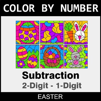 Easter Color By Number - 2-Digit - 1-Digit Subtraction by ...