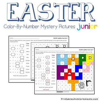 Color-By-Number Addition, Easter Addition Color Sheets (K-2) Mystery Pictures